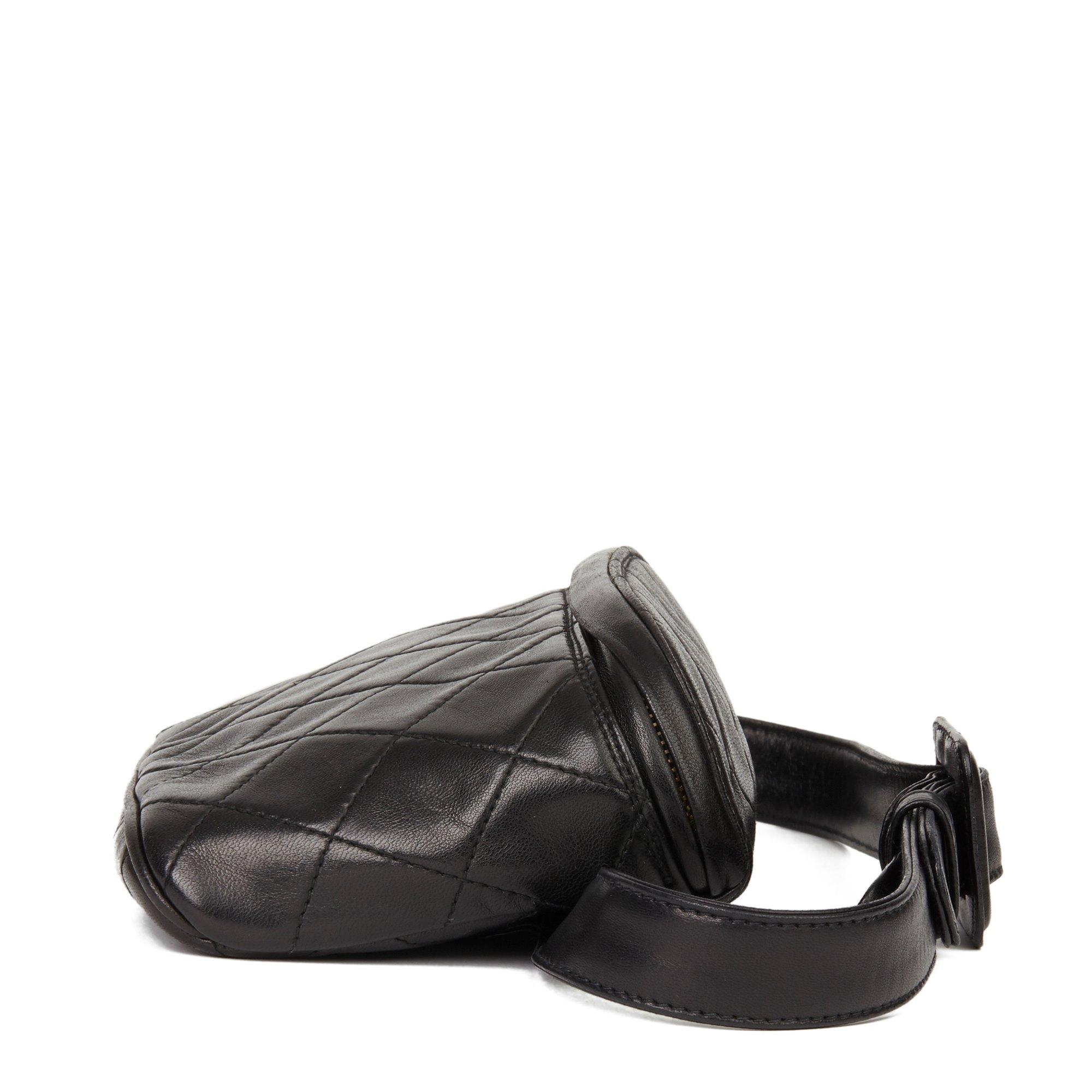 Chanel Black Quilted Lambskin Vintage Timeless Belt Bag