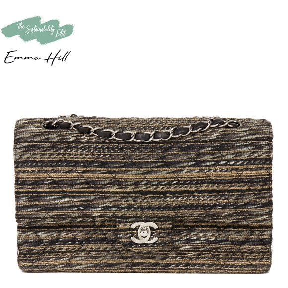 Chanel Multicolour Quilted Tweed Fabric Medium Classic Double Flap Bag