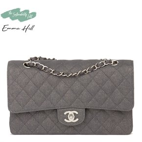Chanel Grey Quilted Metallic Canvas Medium Classic Double Flap Bag