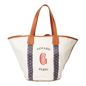 Goyard Blue Chevron Coated Canvas & Brown Calfskin Leather Reversible Belharra Biarritz Tote