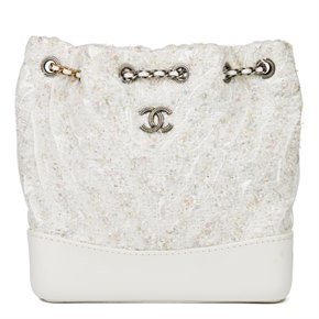 Chanel White Tweed Fabric, Aged Calfskin Leather & Transparent PVC Gabrielle Backpack