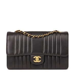 Chanel Black Vertical Quilted Lambskin Vintage Small Classic Double Flap Bag
