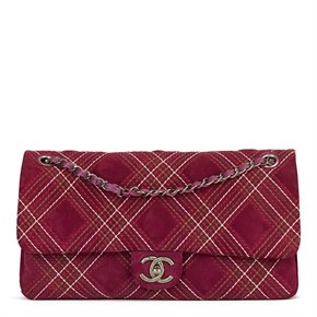 Chanel Purple Heavy-Stitch Quilted Velvet Classic Single Flap Bag