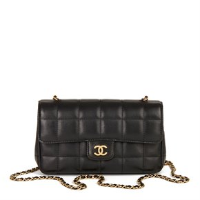 Chanel Black Chocolate Bar Quilted Lambskin Mini Flap Bag
