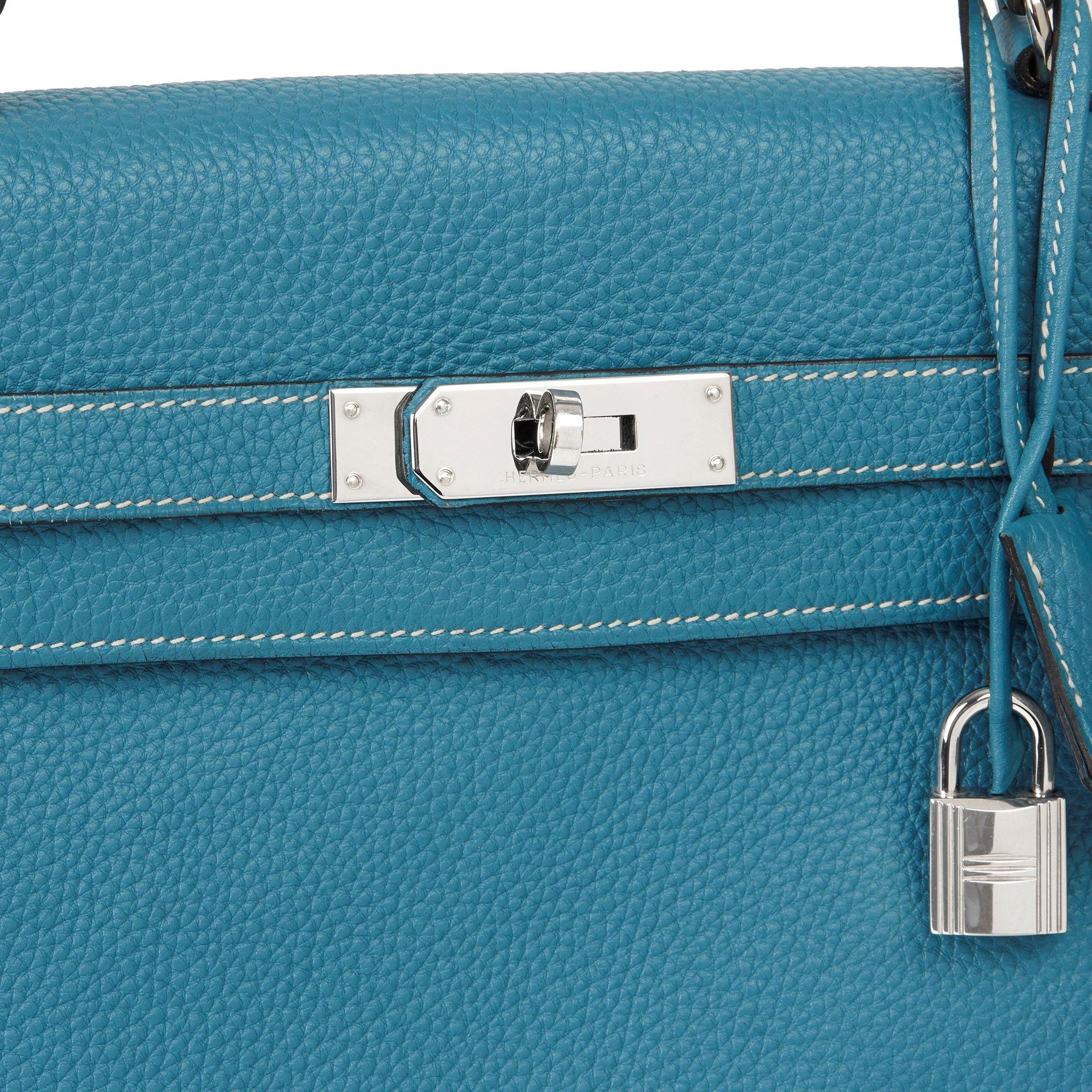 Hermès Blue Jean Togo Leather Kelly 35cm Retourne