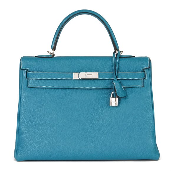 Hermès Blue Jean Togo Leather Kelly 35cm Retourne