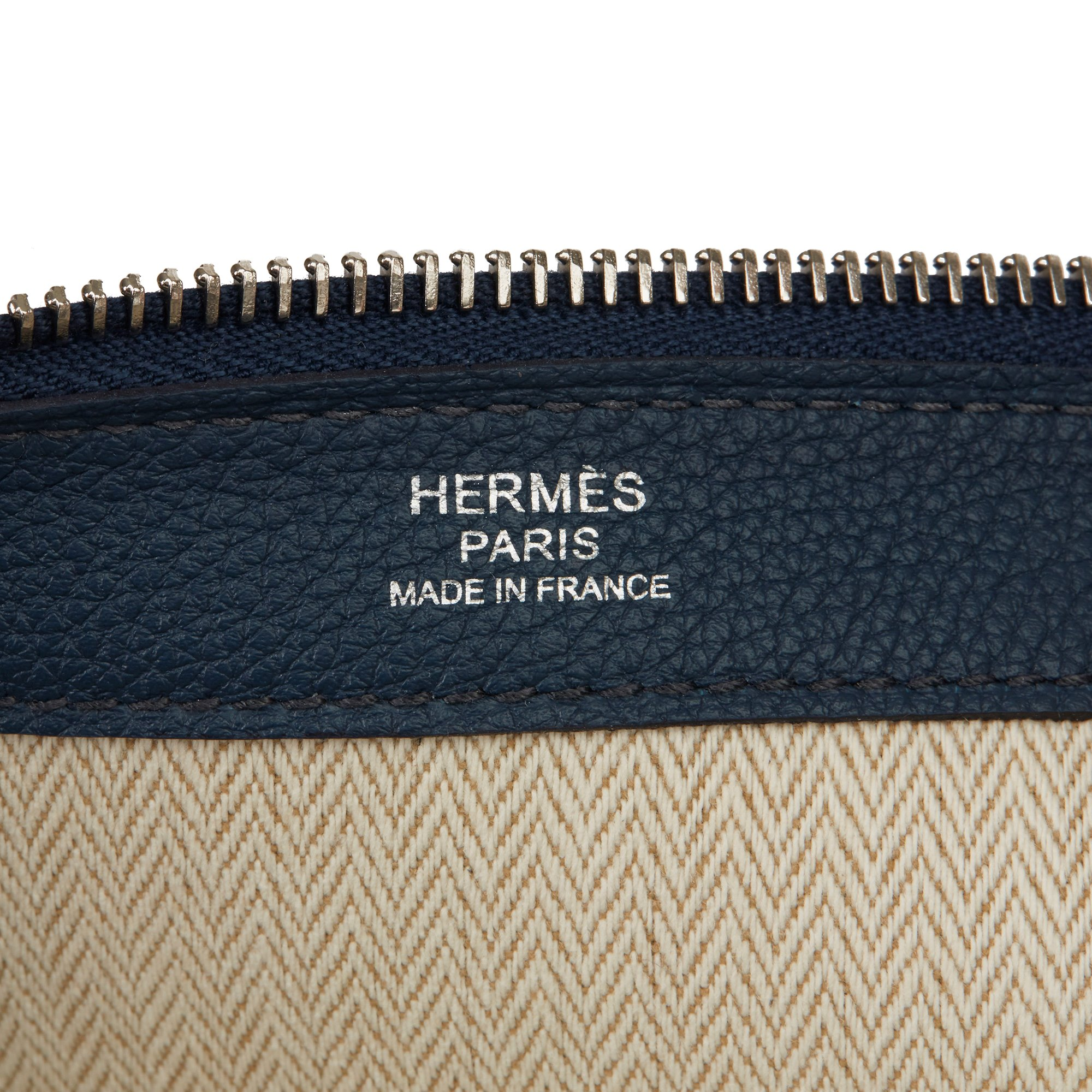 Hermès Bleu de Prusse & Bleu Electric Togo Leather Endless Road Zip Tablet Pochette