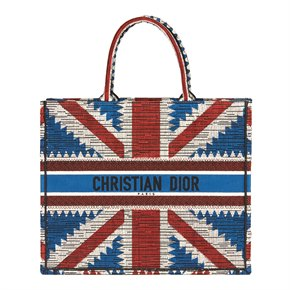 Christian Dior Red, White & Blue Union Jack Book Tote