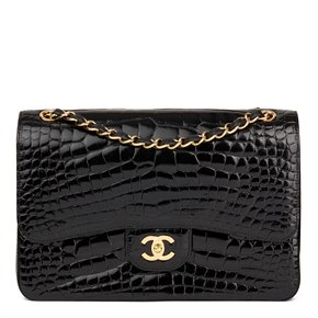 Chanel Black Shiny Alligator Leather Jumbo Classic Double Flap Bag