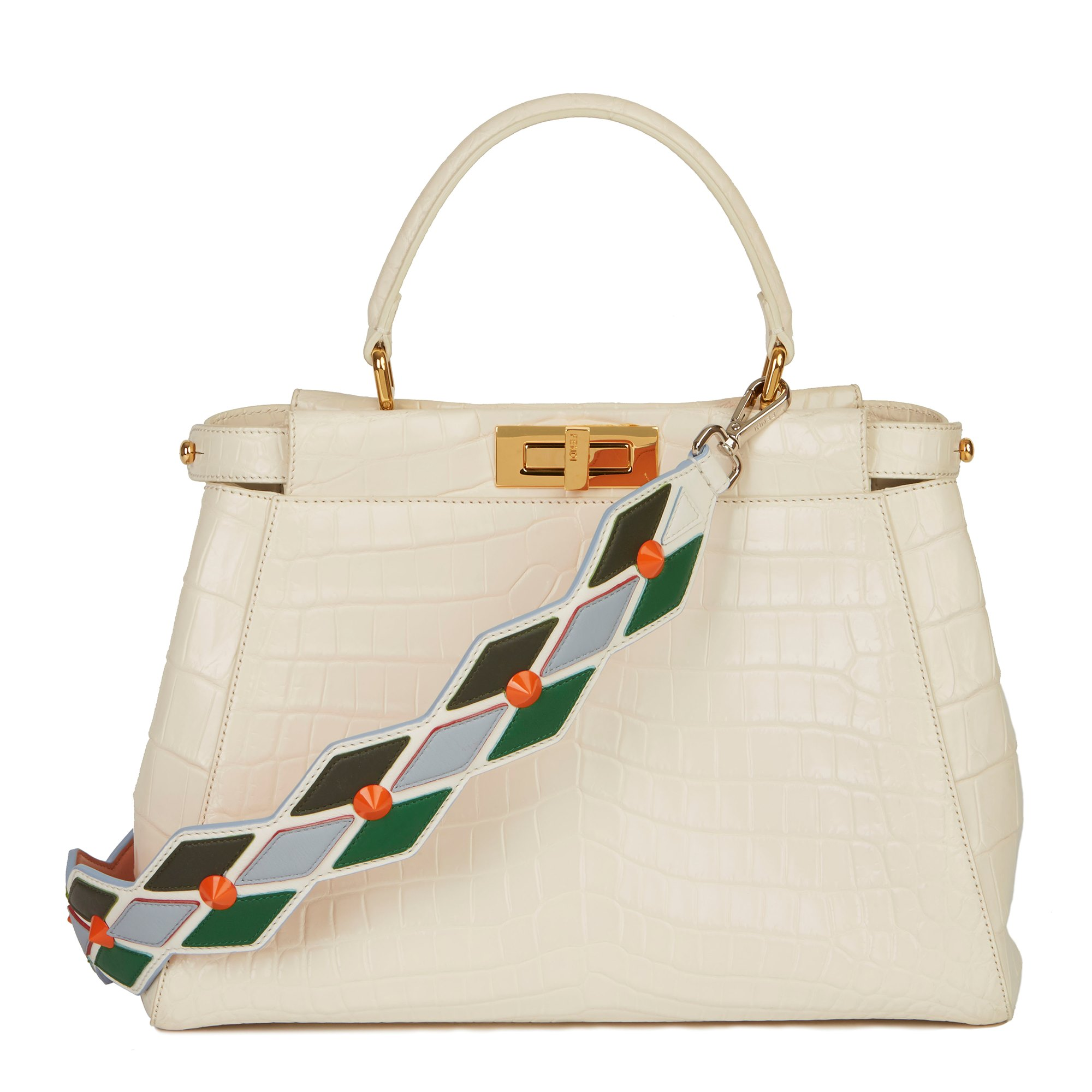 Fendi White Shiny Niloticus Crocodile Leather Regular Peekaboo