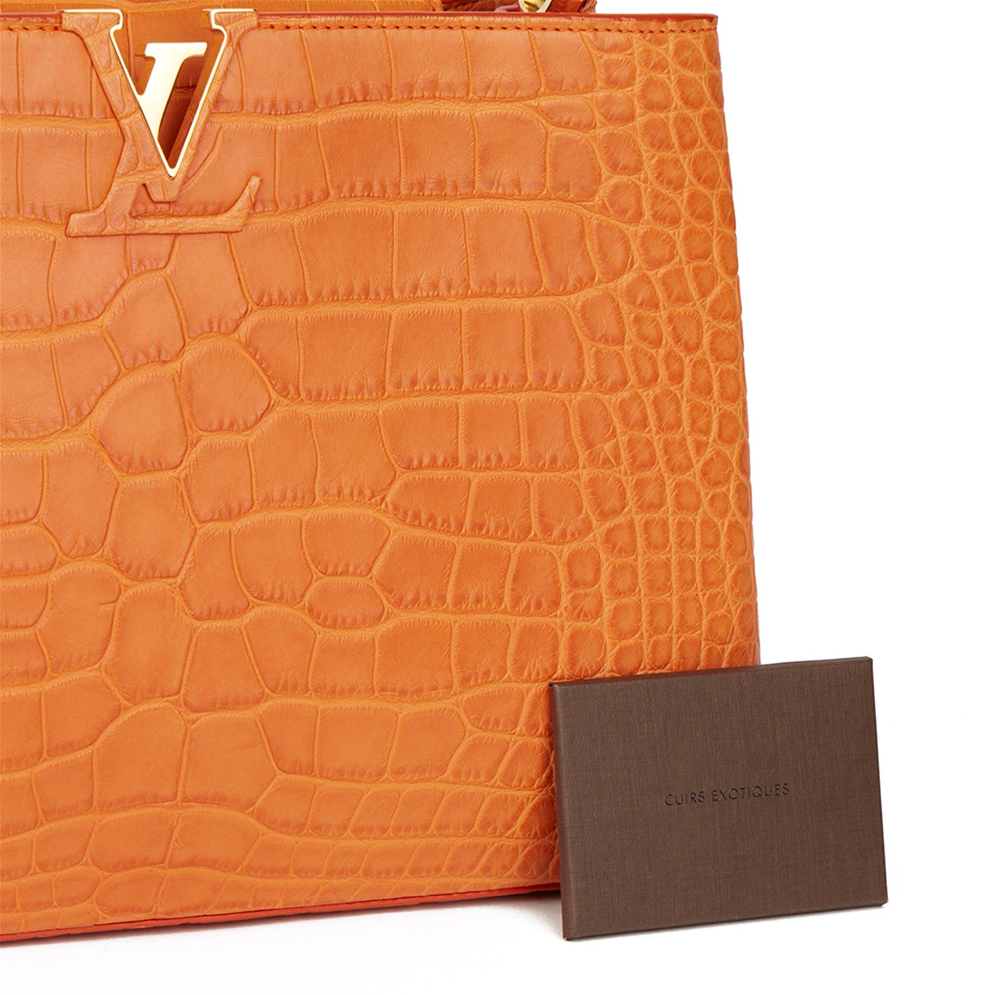Louis Vuitton Orange Matte Alligator Leather Capucines MM