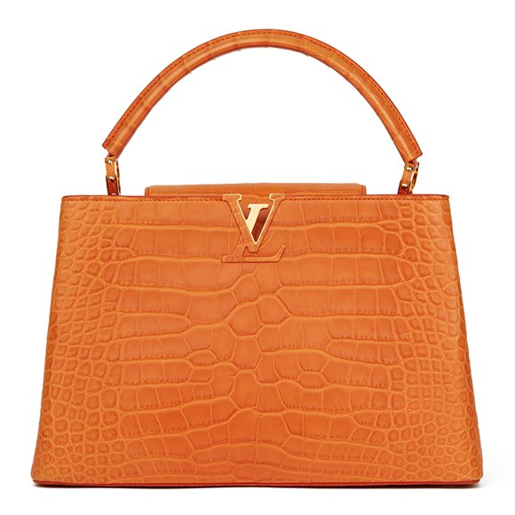 Louis Vuitton Orange Matte Alligator Leather Capucines MM