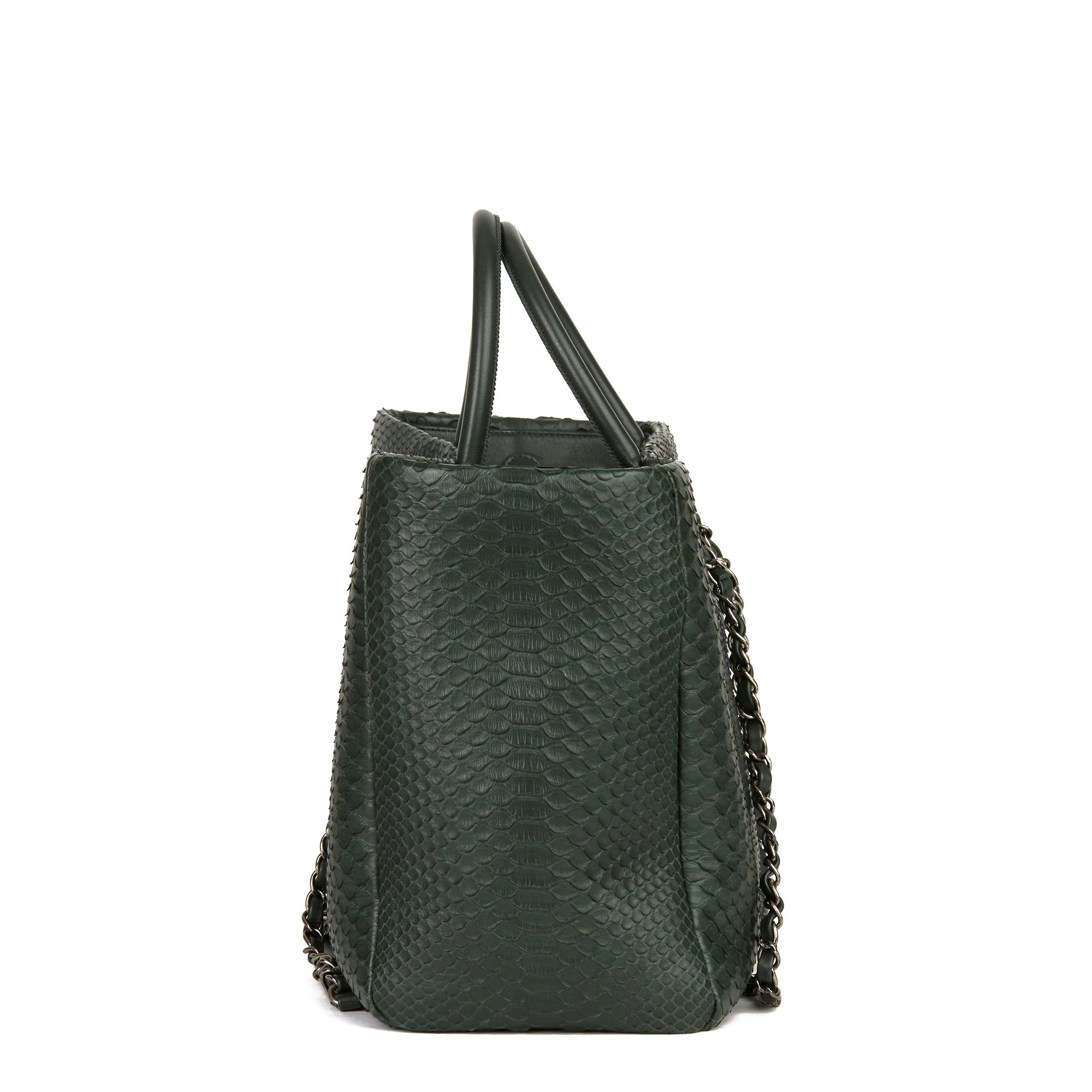 Chanel Dark Green Python Leather Shopping Tote
