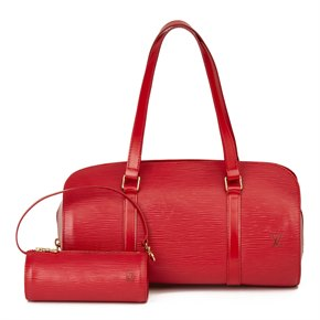 Louis Vuitton Red Epi Leather Papillon 30cm with Pouch