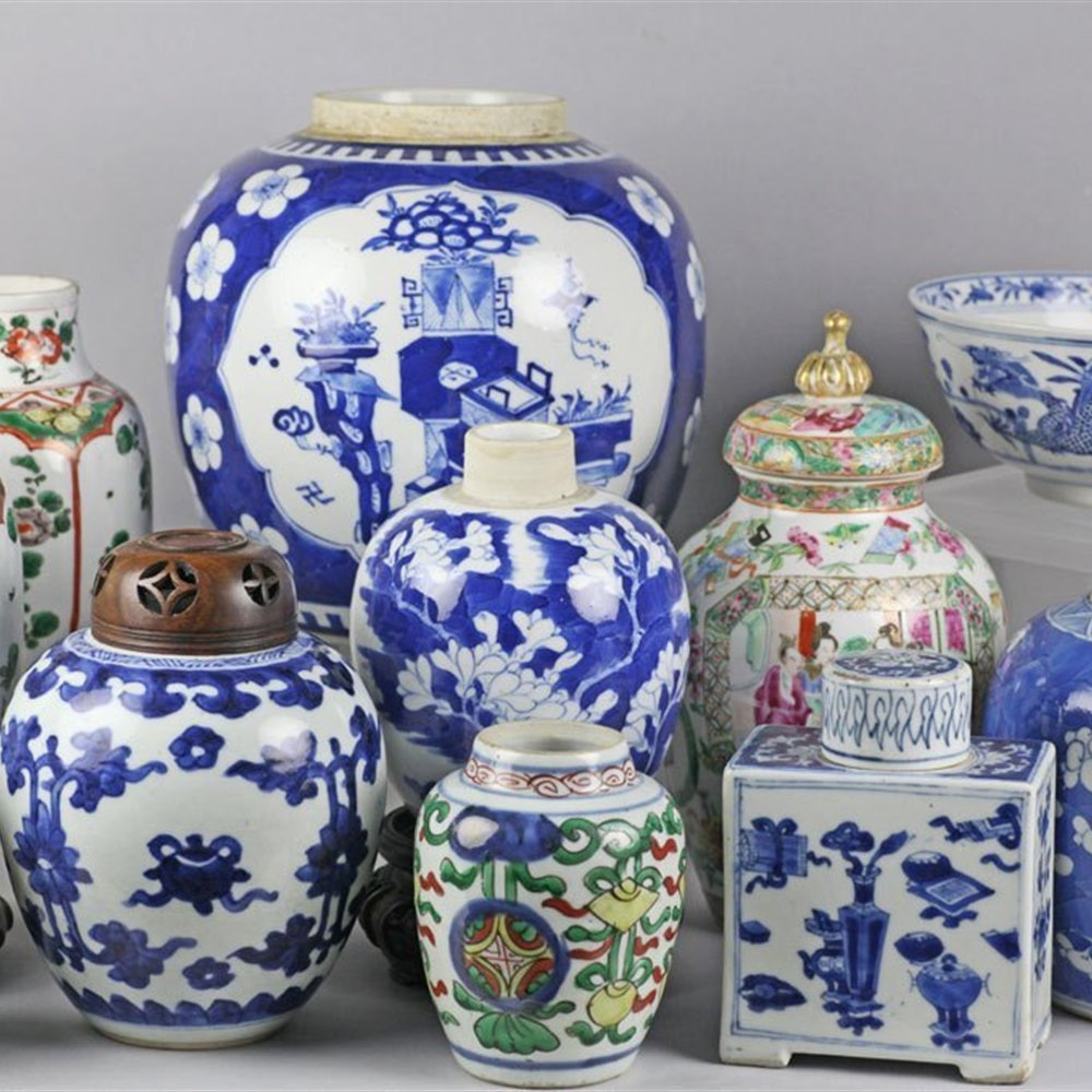 KANGXI BLUE & WHITE GINGER JAR The jar dates from the Kangxi reign 1662 - 1722