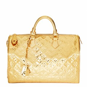 Louis Vuitton Gold Monogram Miroir Vinyl Speedy 35