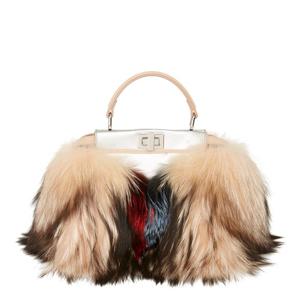 Fendi Silver Metallic Calfskin Leather, Nude Calfskin Leather & Multicolor Fox Fur Mini Peekaboo