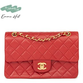 Chanel Red Quilted Lambskin Vintage Small Classic Double Flap Bag
