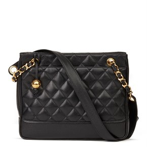 Chanel Black Quilted Caviar Leather Vintage Medium Timeless Shoulder Bag