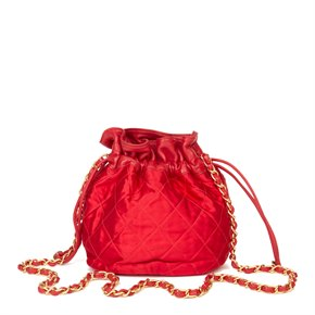 Chanel Red Quilted Satin & Lambskin Vintage Timeless Bucket Bag