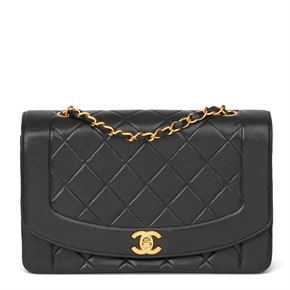 Chanel Black Quilted Lambskin Leather Medium Diana Classic Single Flap Bag