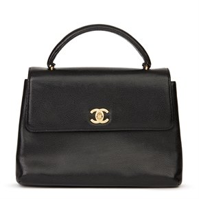 Chanel Black Caviar Leather Vintage Classic Kelly