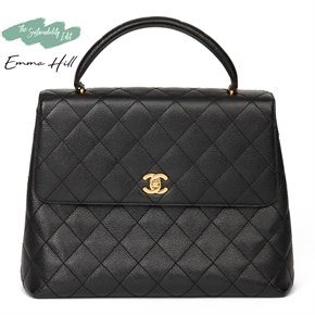 Chanel Black Quilted Caviar Leather Vintage Classic Kelly