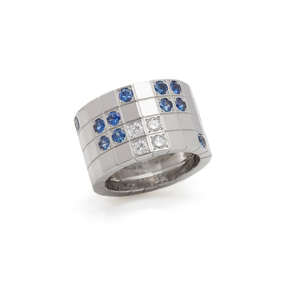 Cartier 18k White Gold Diamond & Sapphire Lanieres Ring