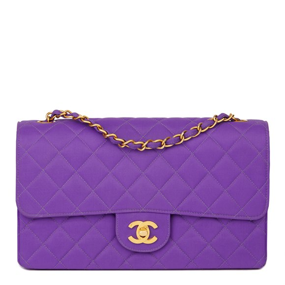 Chanel Purple Quilted Nylon Fabric Vintage Classic Single Flap Bag