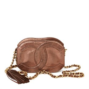 Chanel Bronze Lizard Leather Vintage Mini Classic Tassel Camera Bag