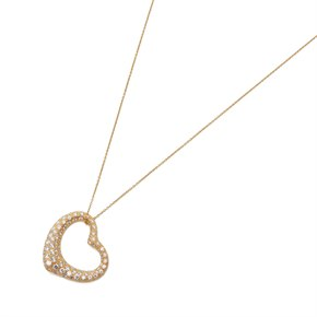 Tiffany & Co. 18k Yellow Gold 2.00ct Diamond Open Heart Elsa Peretti Necklace