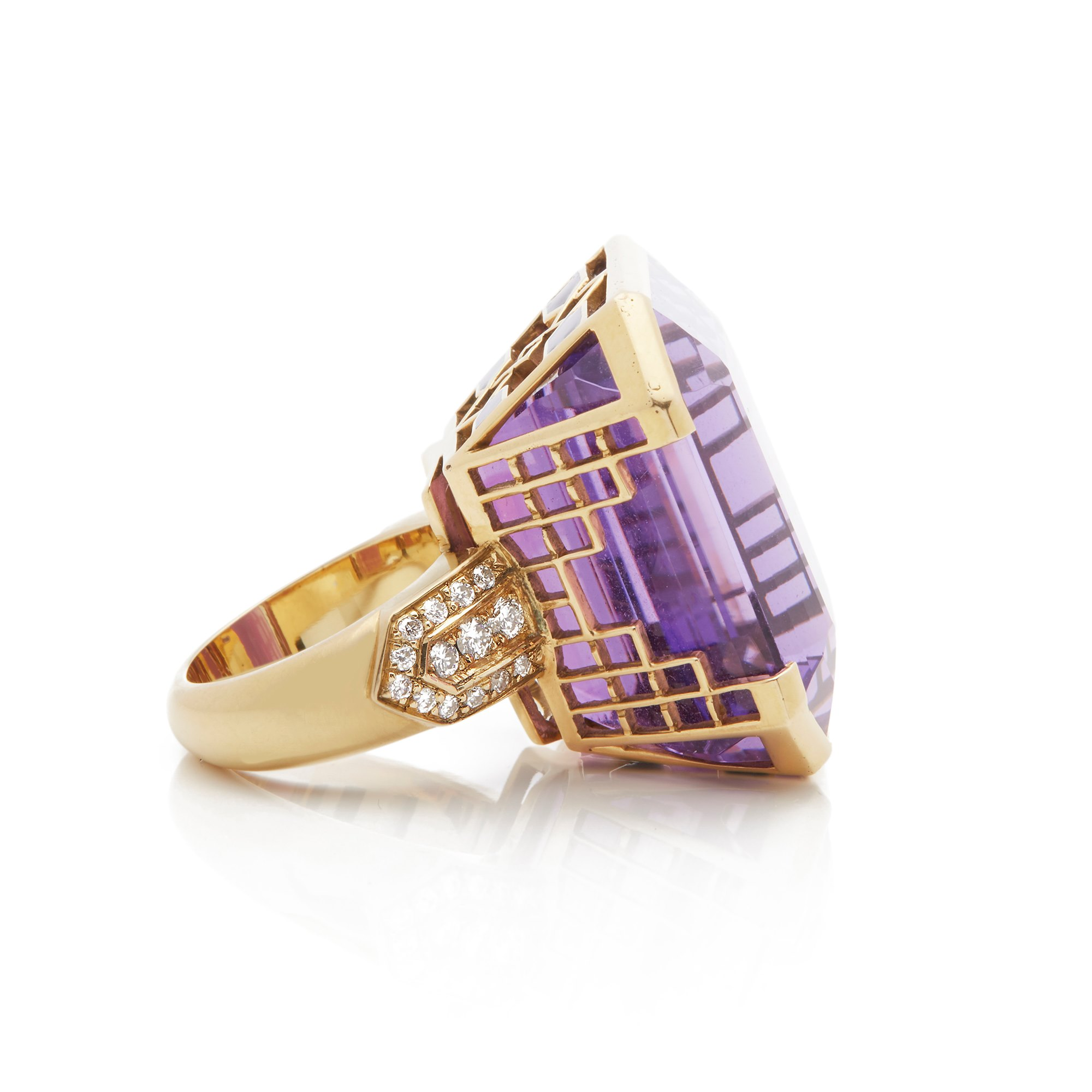 Amethyst 18k Yellow Gold Amethyst & Diamond Large Cocktail Ring