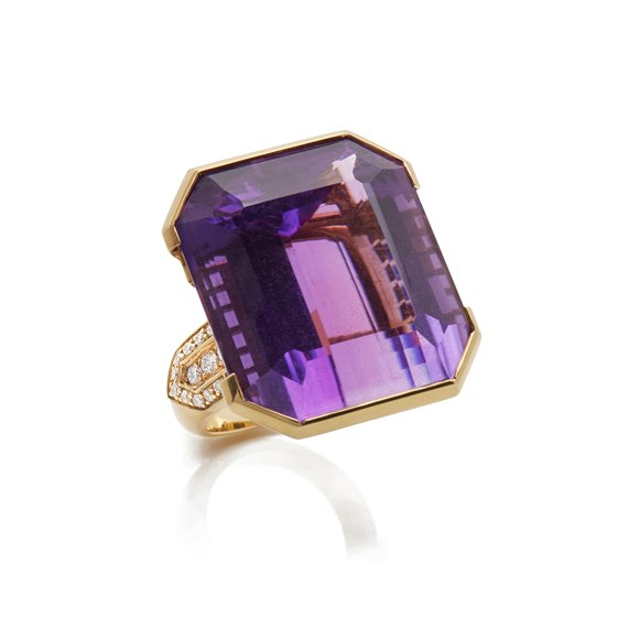 18k Yellow Gold Amethyst & Diamond Large Cocktail Ring