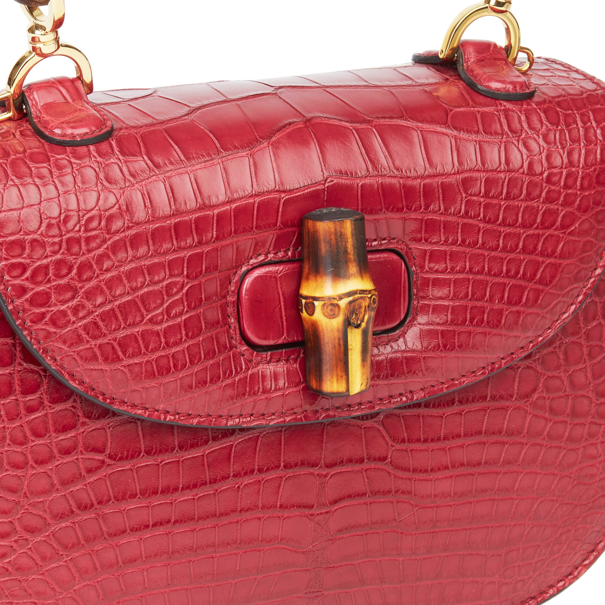 Gucci Burgundy Alligator Leather Bamboo Classic Top Handle