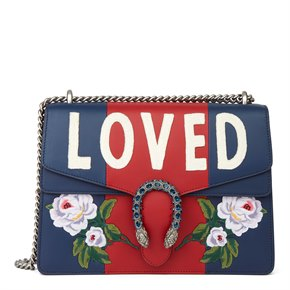 """Gucci Navy & Hibiscus Red Embroidered Calfskin Leather """"Loved"""" Medium Dionysus"""