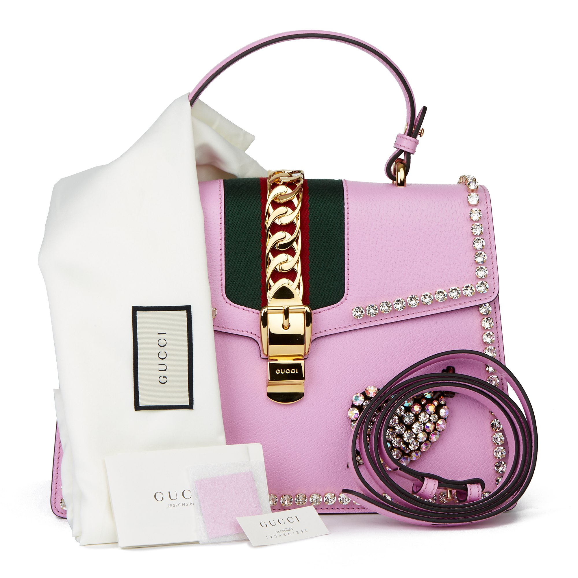 Gucci Pink Pigskin Leather Crystallised Medium Sylvie Top Handle