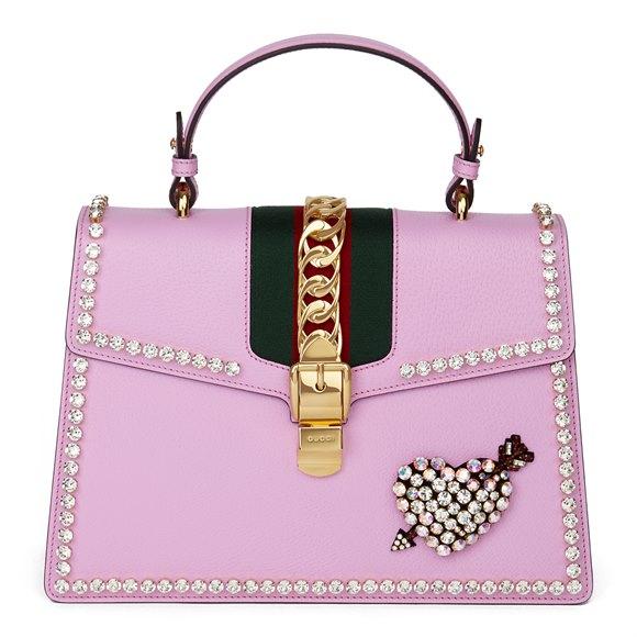 Gucci Pink Pigskin Leather Crystallised Medium Sylvie Top Handle