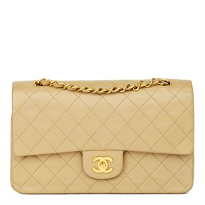 Chanel Beige Quilted Lambskin Vintage Medium Classic Double Flap Bag