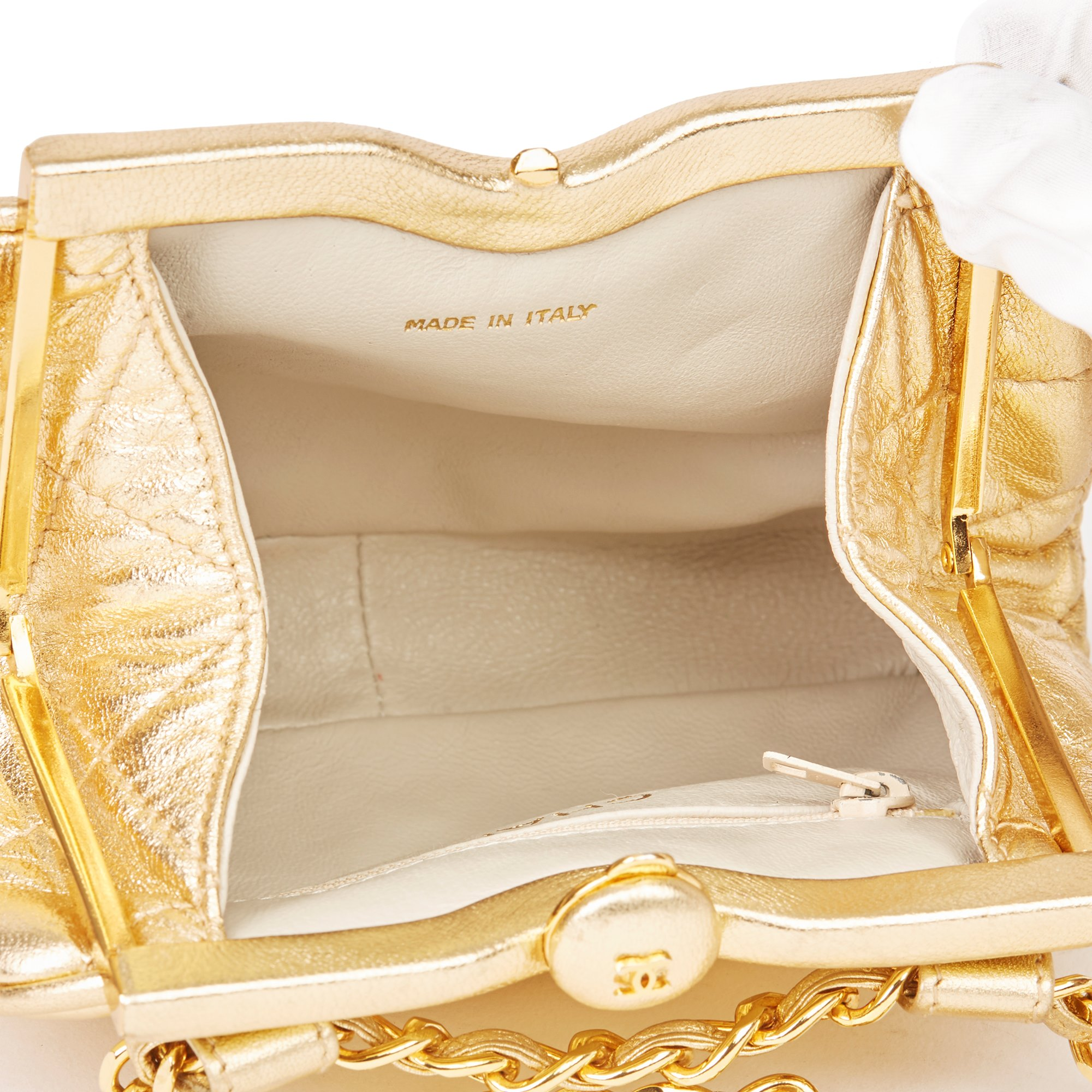 Chanel Gold Quilted Metallic Lambskin Vintage Timeless Belt Bag