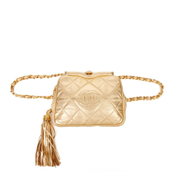 Chanel Gold Quilted Metallic Lambskin Vintage Timeless Belt Bag