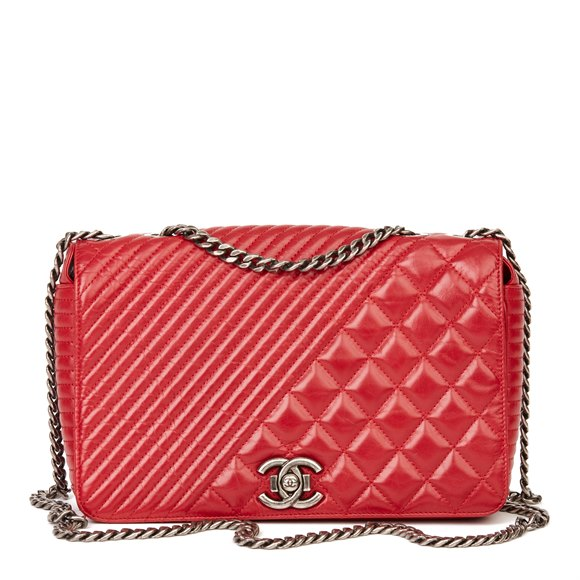 Chanel Red Quilted Glazed Calfskin Leather Medium Coco Boy Flap Bag