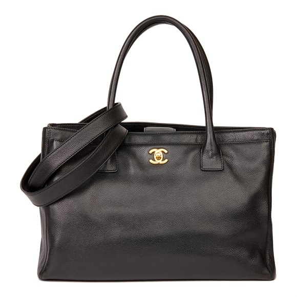 Chanel Black Calfskin Leather Cerf Tote