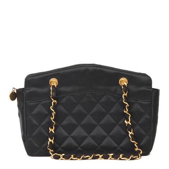 Chanel Black Quilted Satin Mini Timeless Tote