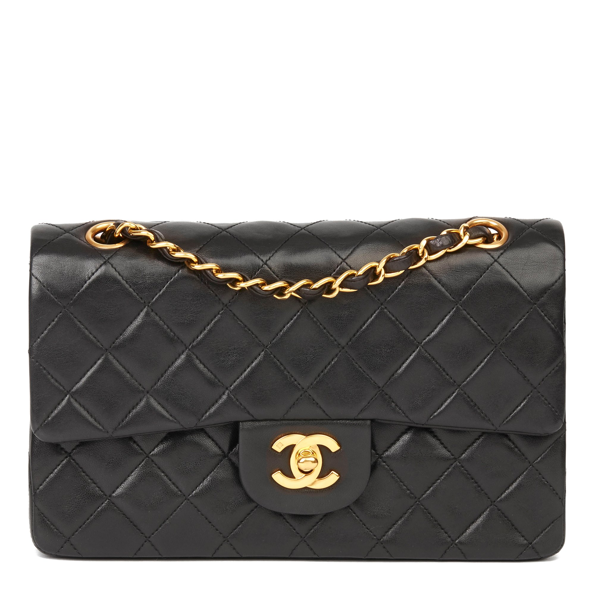 Chanel Black Quilted Lambskin Vintage Small Classic Double Flap