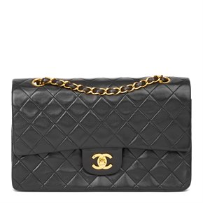 Chanel Black Quilted Lambskin Vintage Medium Classic Double Flap