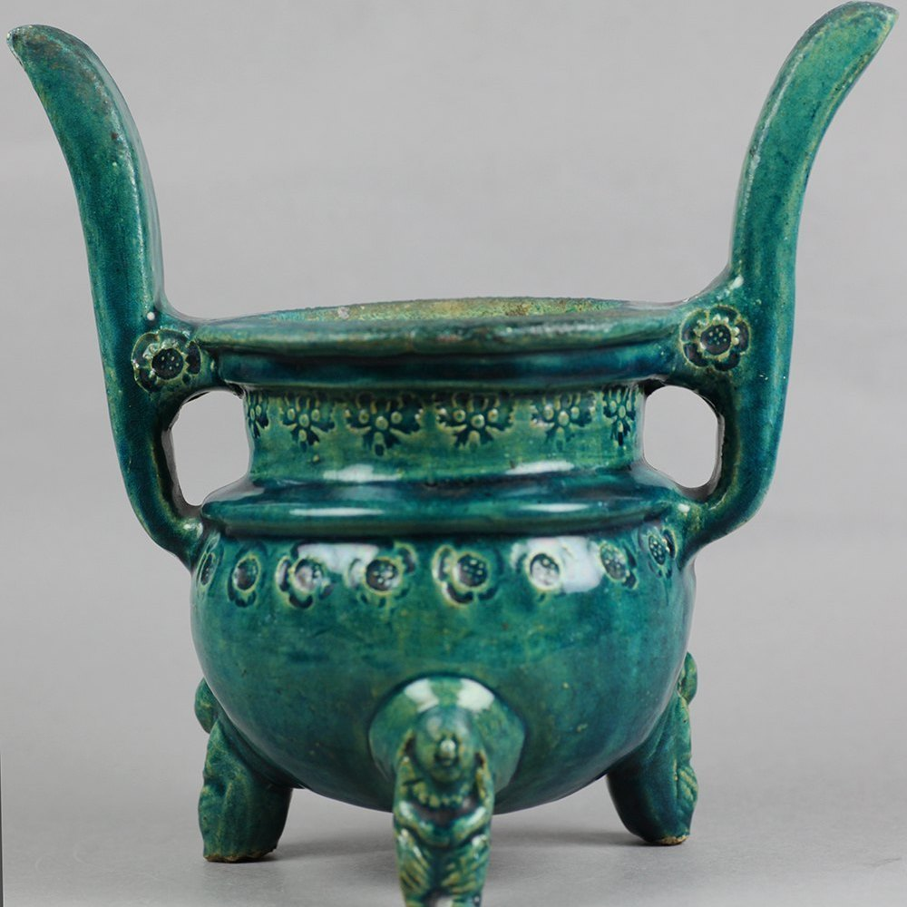 POTTERY TWIN HANDLED CENSER We believe this piece to date from the 18th or 19th century but could possibly be earlier