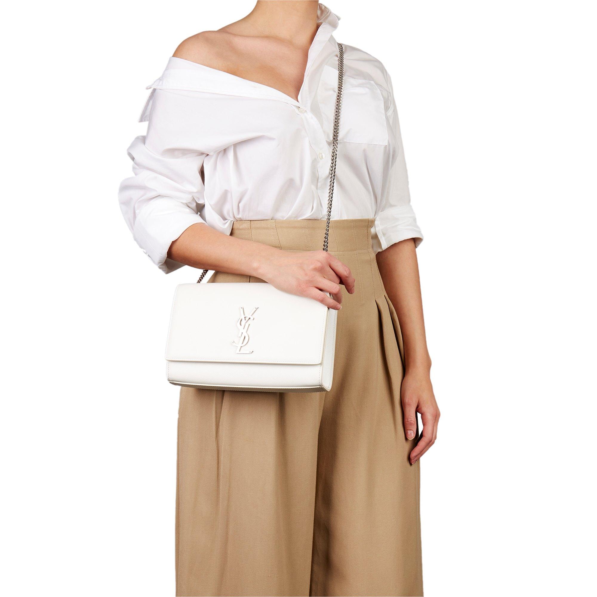 Saint Laurent White Grained Calfskin Leather Medium Kate