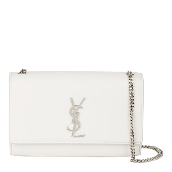 Saint Laurent White Grained Calfskin Leather Medium Kate