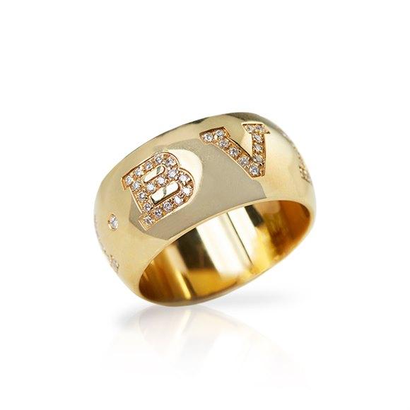 Bulgari 18k Yellow Gold 0.50ct Diamond Monlogo Ring
