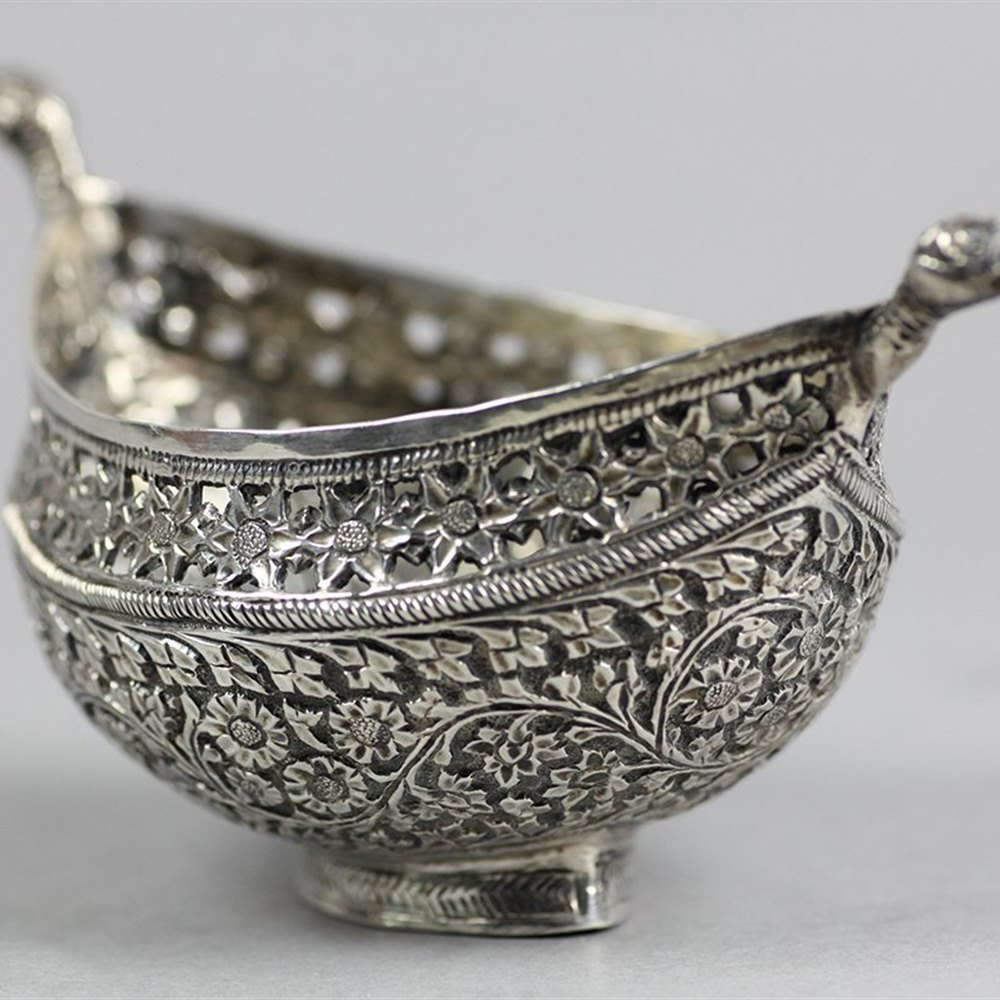 INDIAN SILVER BOWL WITH HANDLES Early 19th Century